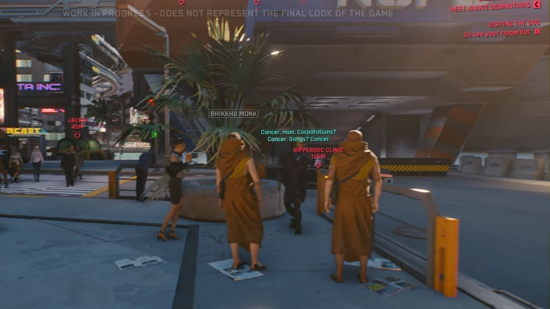 Monk NPCs in Cyberpunk 2077 and other NPCs listening in. An example of characters interacting with the world around them in the demo
