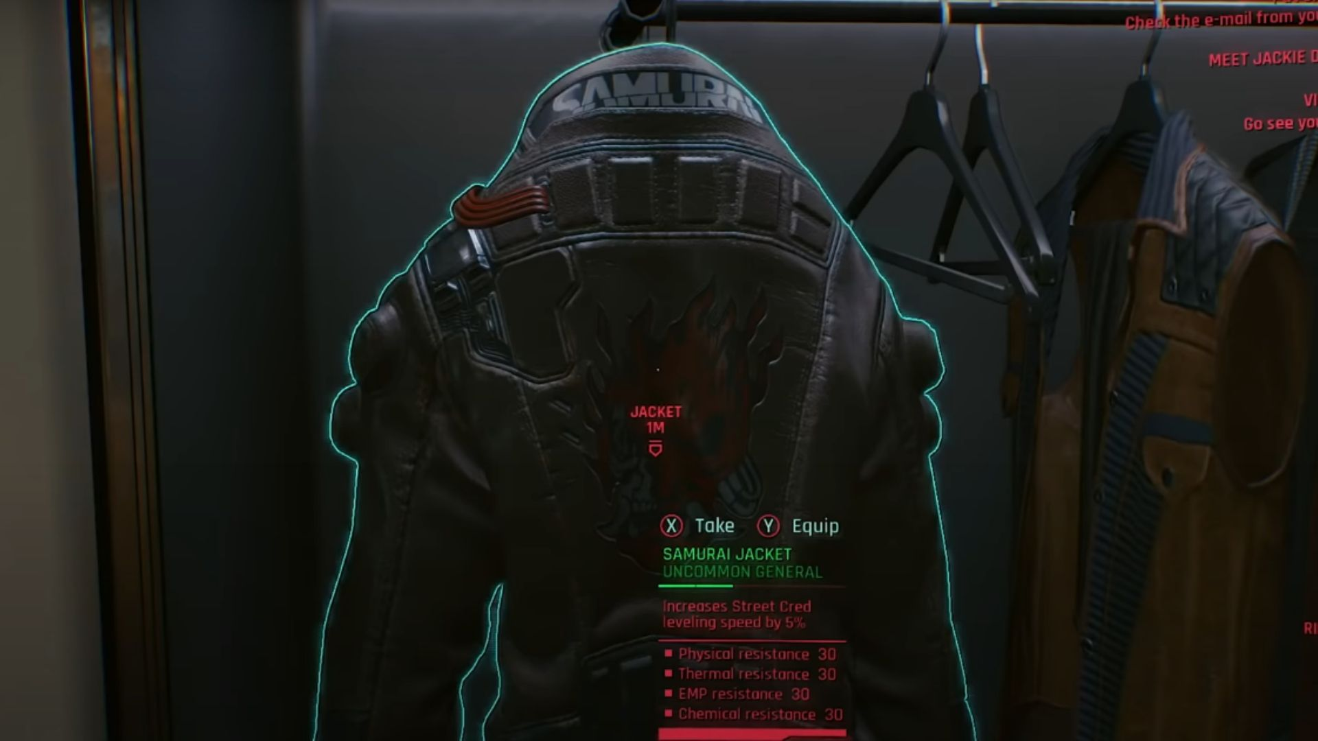 V's jacket from the Cyberpunk E3 2018 trailer, showing that it increasing street cred