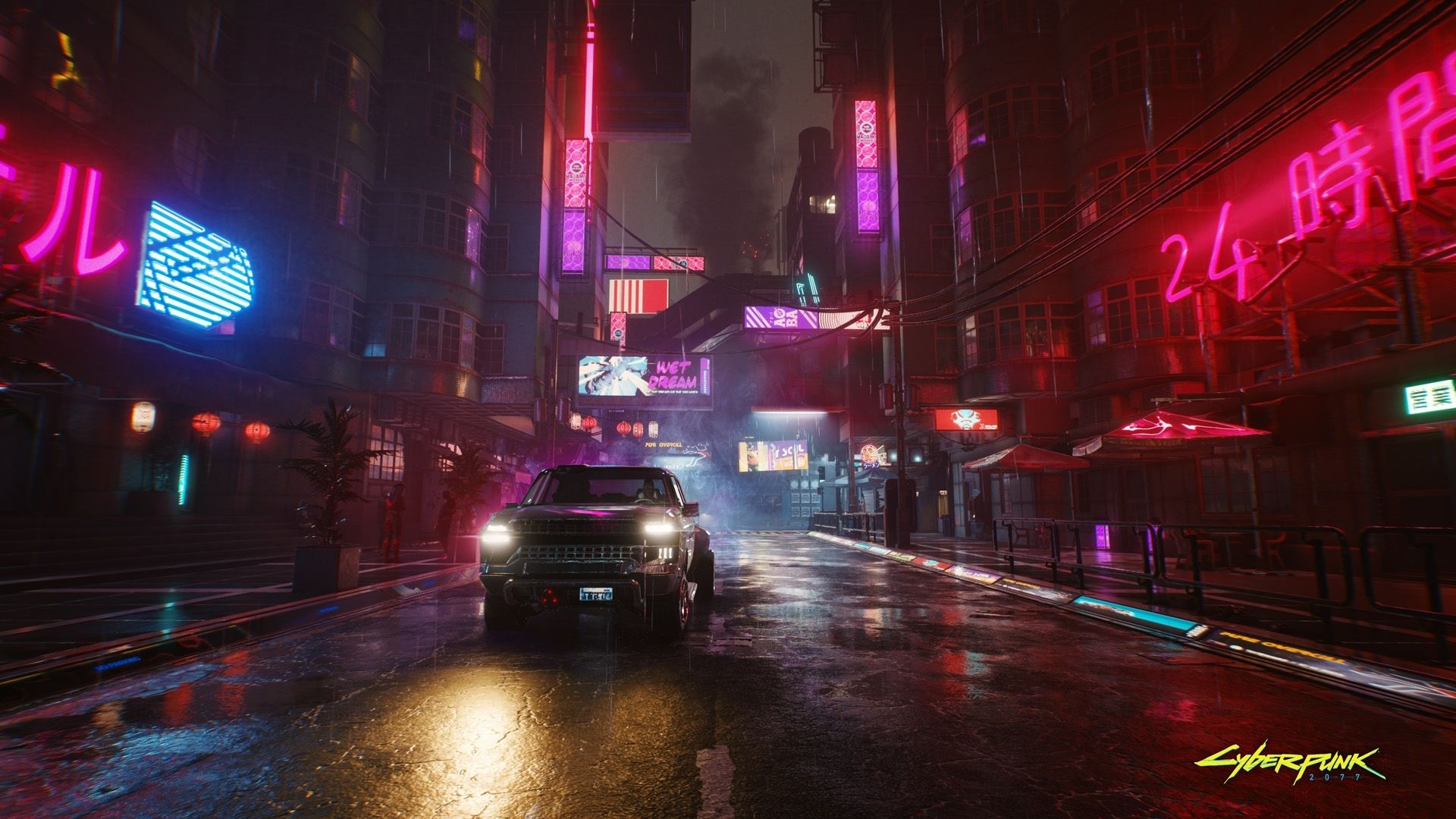 Official Cyberpunk 2077 artwork depicting rain in Night City