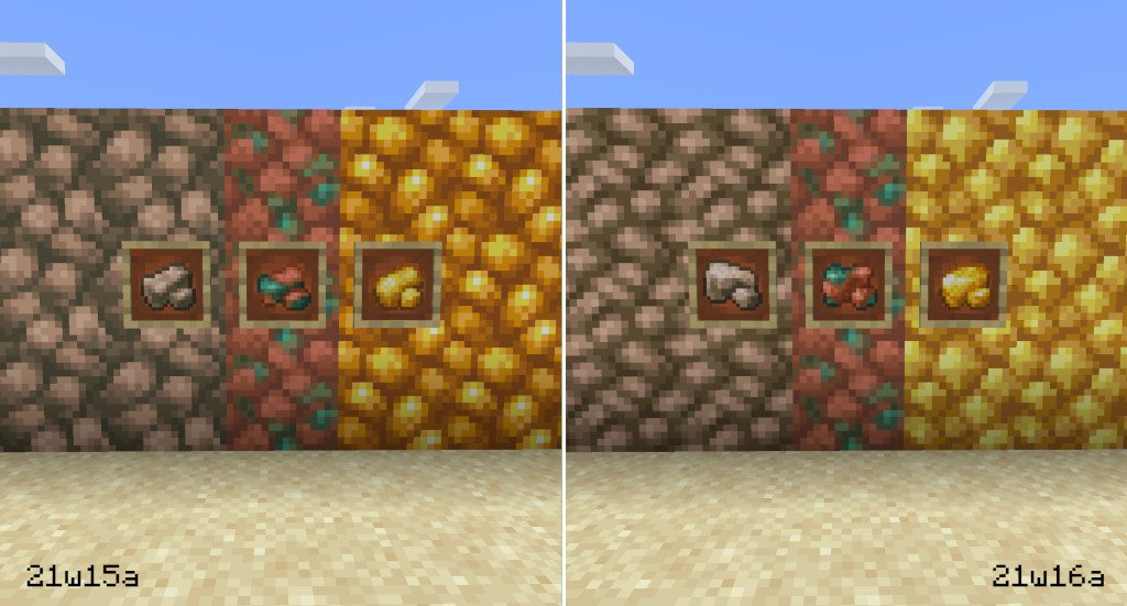 A raw ore texture comparison in Minecraft: Java Edition