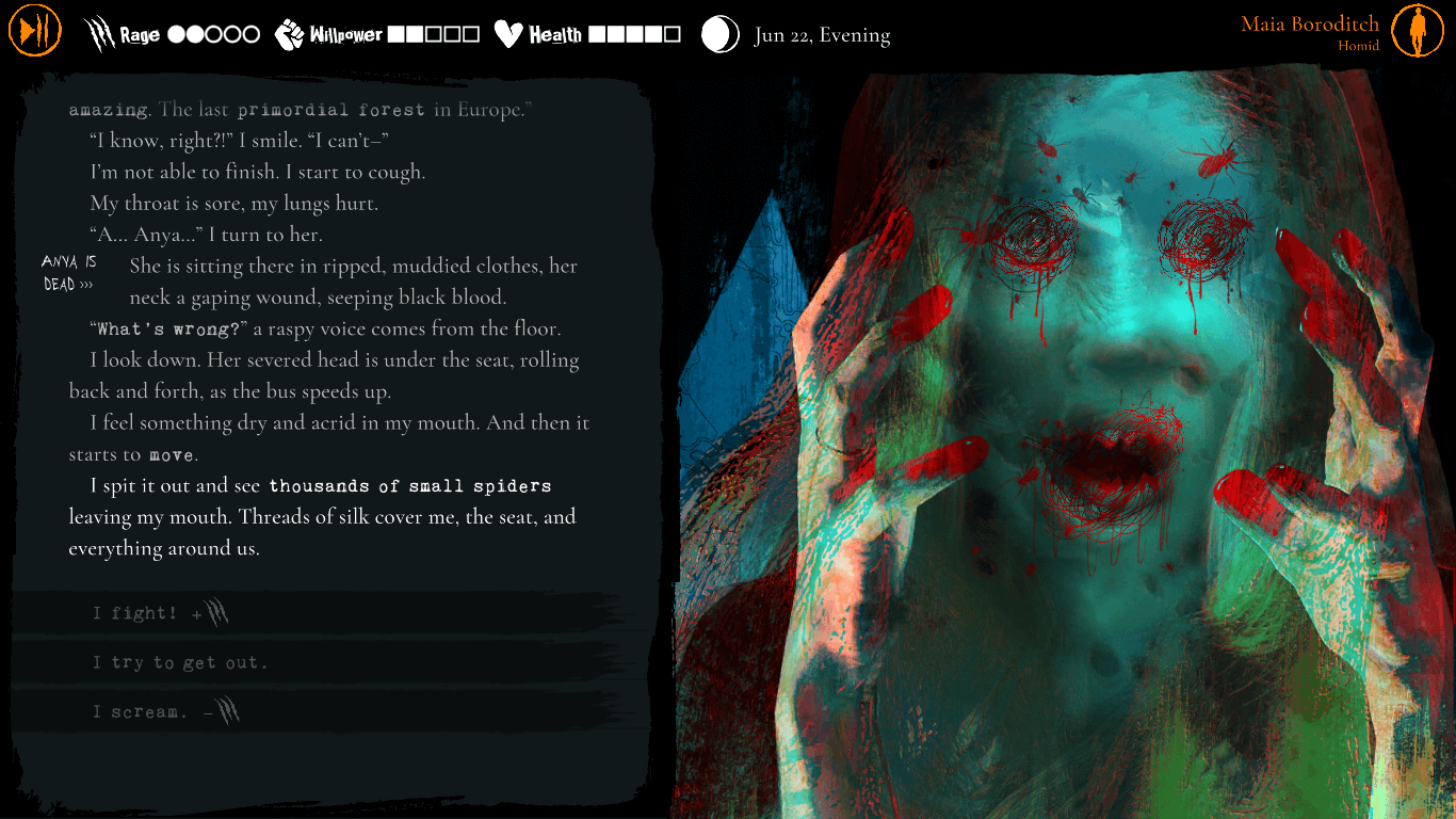 A bloody image of a person's severed head, the text describing a nightmare