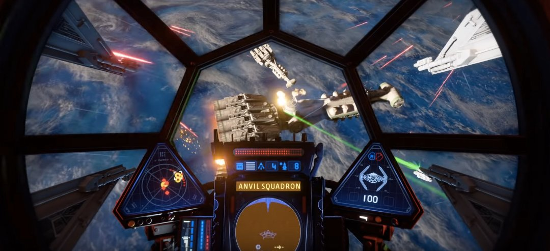 The view from a TIE Fighter's cockpit as they fly towards a flaming rebel cruiser