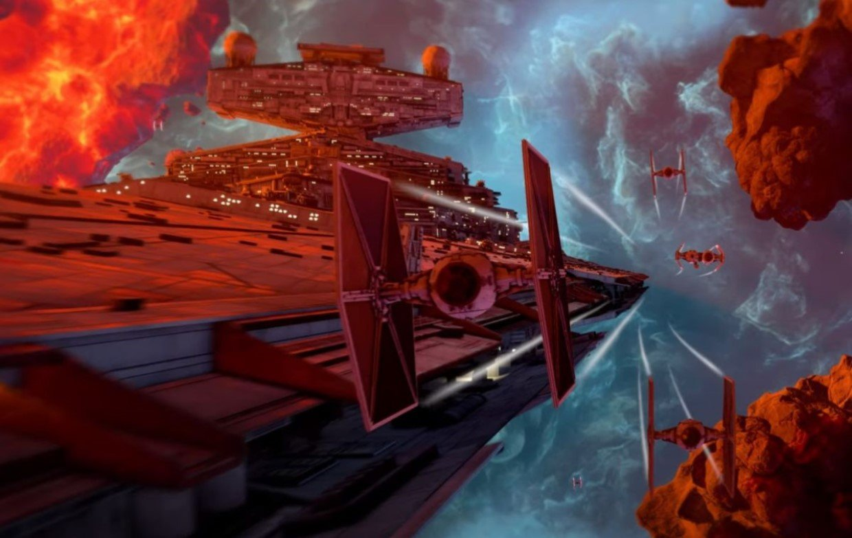 A swarm of TIE Fighters flying through a nebula with a star destroyer