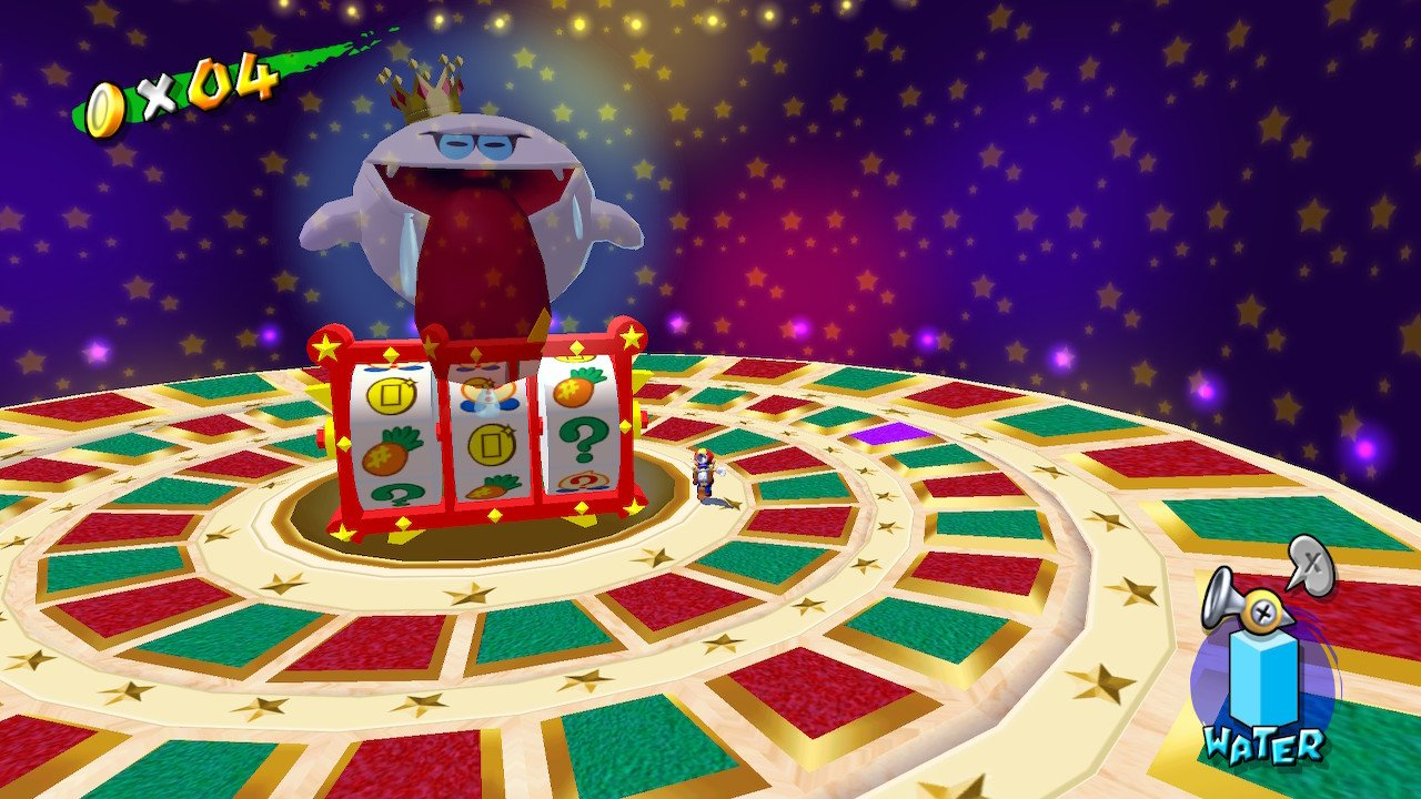 Mario facing a giant ghost on top of a large roulette wheel