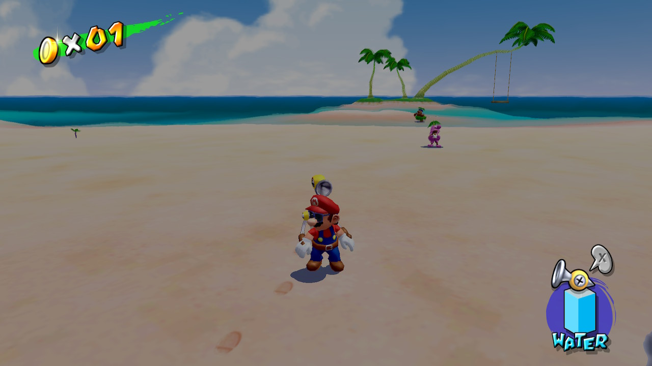 Mario standing on a sandy beach with sunglasses on