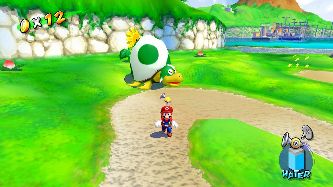 Mario encountering a giant turtle using a yoshi egg for a shell