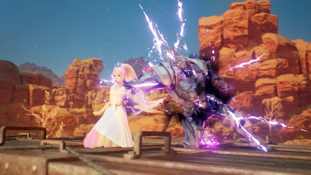 A battle scene in the now-delayed Tales of Arise
