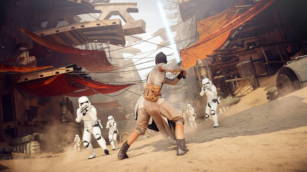 Star Wars Battlefront II, one of many EA-developed Star Wars games that will now sit alongside the new Ubisoft open-world game