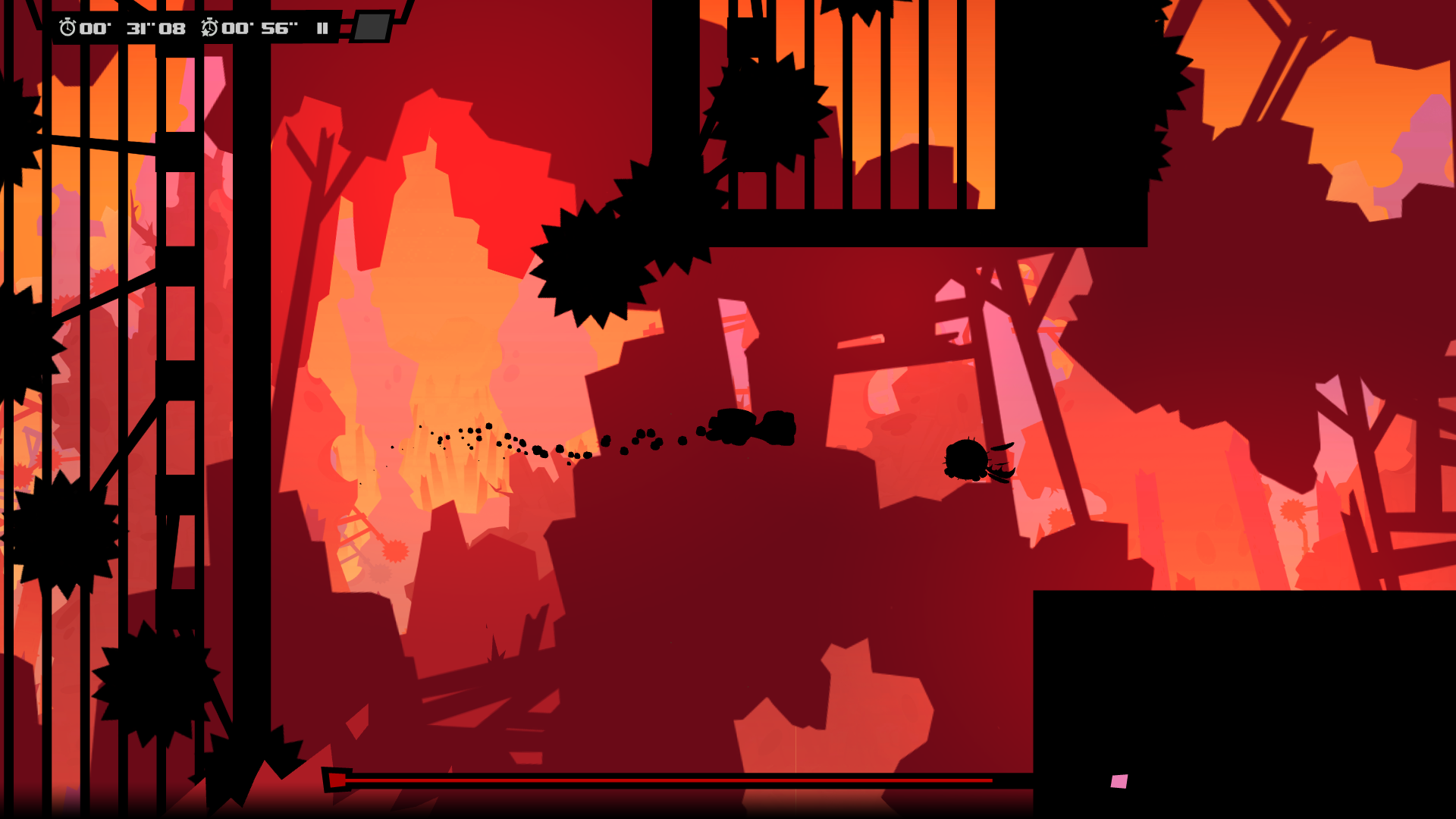 Screenshot from a Super Meat Boy Forever level