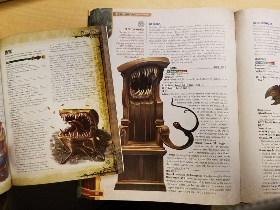 pathfinder second edition bestiary comparison