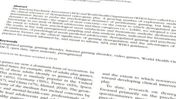 Gaming Disorder Study Abstract