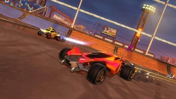 An in-game shot of Rocket League
