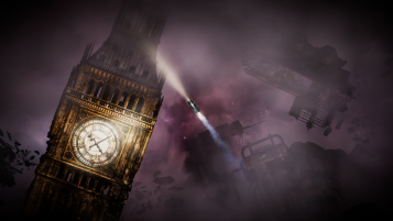 Screenshot of the player flying past Big Ben.