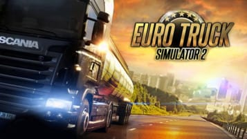 The logo of Euro Truck Simulator 2 and a cool looking truck.