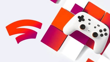 The Google Stadia controller and promo art