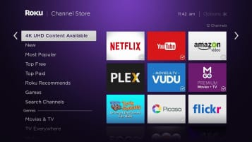 The Roku main menu